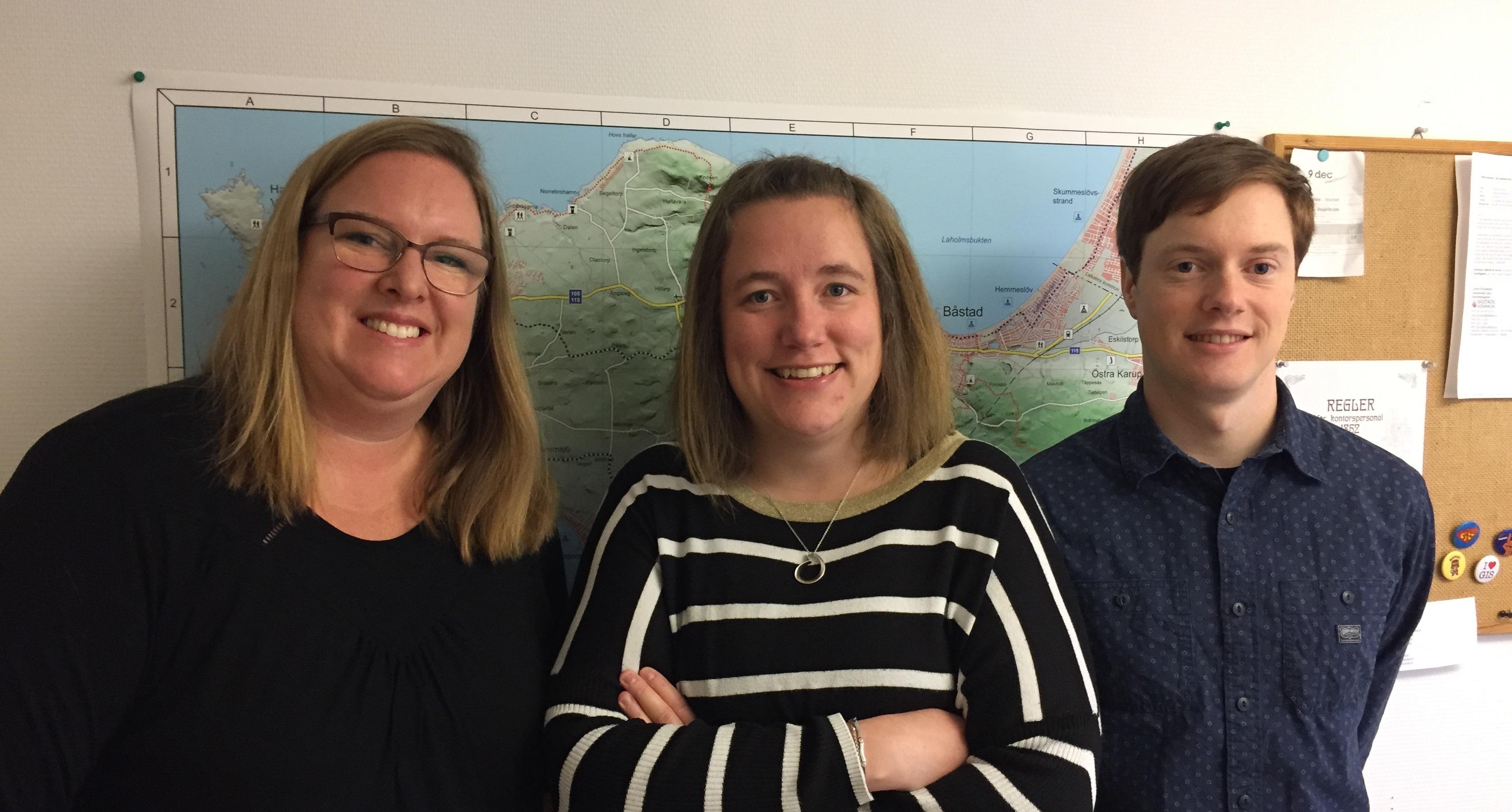 Geodatagänget i Båstad: Annika Jern, Malin Svensson och Klas Rosenkvist